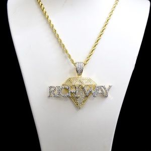 14k Gold Lab Diamond Iced Out RICH WAY Charm Chain